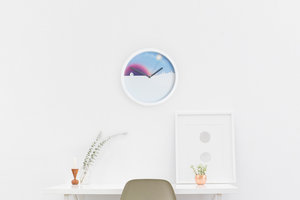 Round wall clock with sun moon and sky design