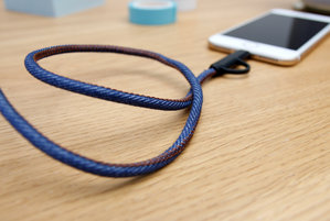 Blue denim phone charger for the office and home