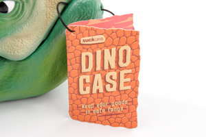 dinosaur head lunch box closeup