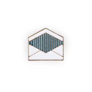 Envelope shaped enamel pin for students and friends