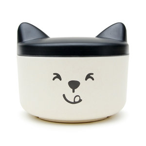 Black and white pet food bowl and travel treat container