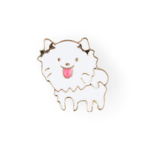 Sweet white dog enamel pin with ear bows and pink tongue