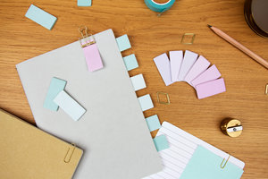 Pink and blue pastel post-it notes for school and work