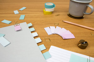 Gradient sticky notes perfect to use as notebook tabs