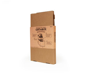 Reusable cardboard box with message recording feature