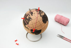 globe cork with pins and thread