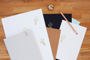 Stylish gold cactus paper clips for school or home