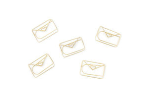 Gold envelope paper clips