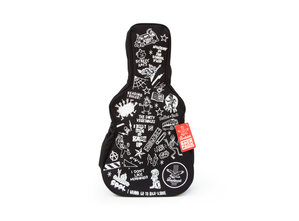 Guitar Backpack with red tag on white background