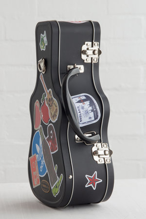 Metal lunch box in the shape of guitar case