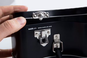 latch on a metal lunchbox