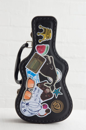 Guitar case lunch box with stickers