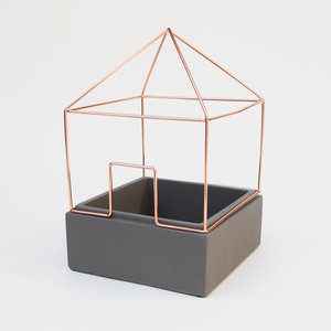Decorative plant pot with copper house shaped cage
