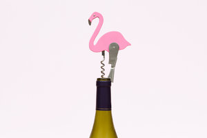 Designer pink flamingo bottle opener and corkscrew
