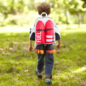 red and white rocket man children's back pack