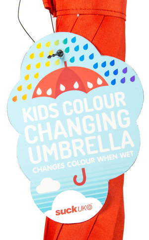Retail swing tag design for kids version of Colour Changing Umbrella by design company SUCK UK.