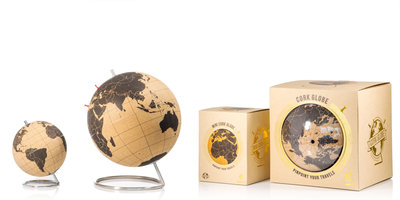 large and small travel globes in packaging