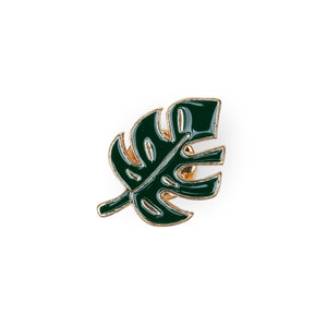 Green tropical leaf enamel pin for adventurous plant lovers