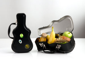 Mini Guitar Case with food inside