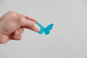 3D paper sticky notes in the shape of butterflies