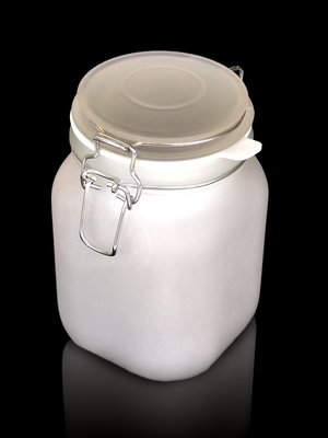 light in frosted jar