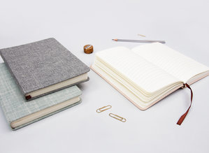 Stylish linen covered lined notebooks