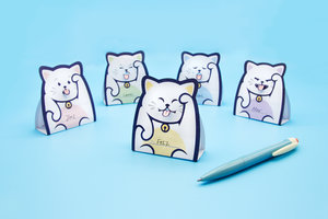 Lucky cat message pads folded up