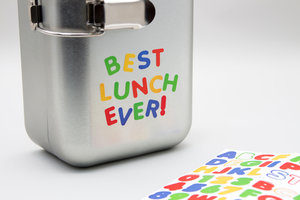 Best lunch ever spelt out on front of fridge lunchbox with stickers