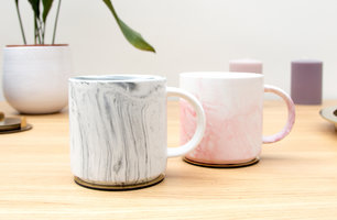 Grey and pink marble mugs for the office and home