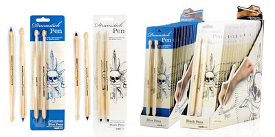 black and blue ballpoint pens drumstick shaped