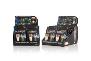 Bottle Lights by SuckUK come supplied in retail POS display merchandisers.