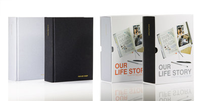 Fabric / material bound book with lined and blank pages and spaces to draw or stick photos, tickets and memorabilia
