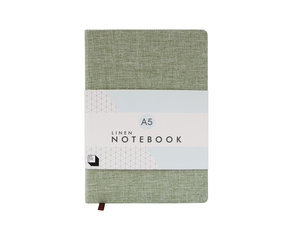 Moss green linen covered notebook