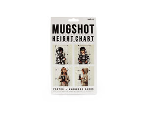 Mugshot height chart packaging from front