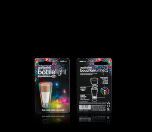 Multi-colour rechargeable Bottle Light packaging - shown on black background.