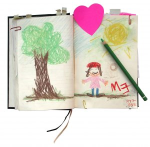 diary with sections for drawings and templates