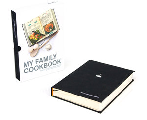 My Family Cookbook. Black hardback notebook with slip case.