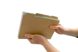 side view of notebook with tabs