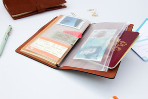 Leather travel notebook with pockets for tickets and passports