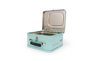 Blue TV Lunchbox open on a white background