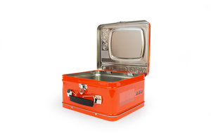 Orange TV Lunchbox open on a white background