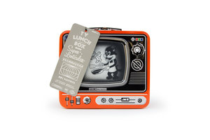 Orange TV Lunchbox on white background with tag