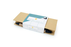 memo pad and ruler set in packaging side angle