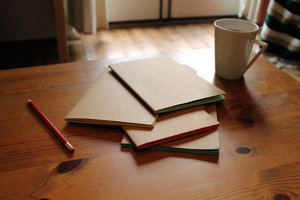 pack of tabbed grid notebook on table