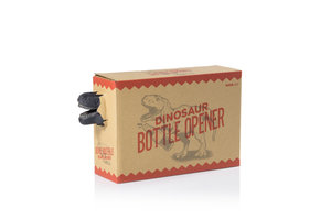 Dinosaur bottle opener bursting out of it;s cool gift box.