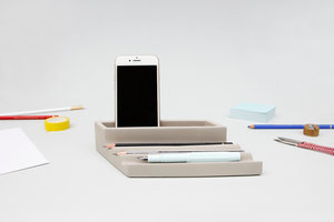 Designer concrete desk tray phone and pen holder