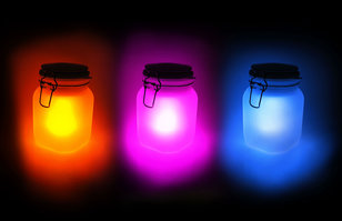 pink yellow blue sun jars
