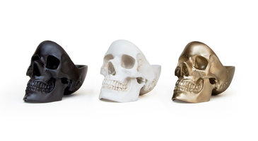 black white and gold plastic skulls for sale