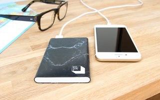 Designer marble power bank sturdy and easy to store away in the office