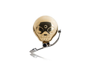 novelty golden skull shaped bell for bicycles, tricycles or scooters